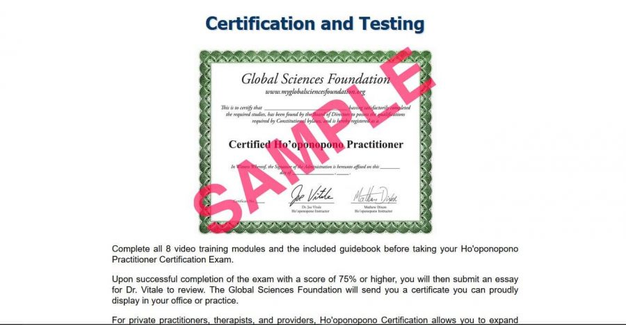 A sample of certification