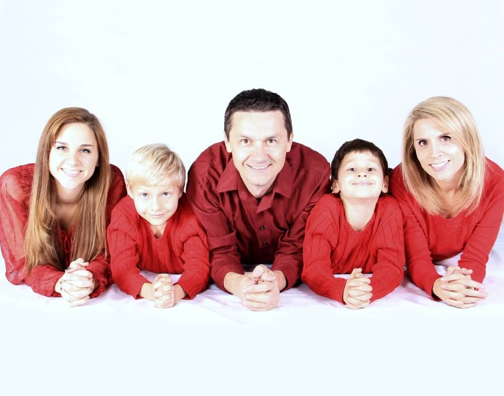 Family in Red Shirt