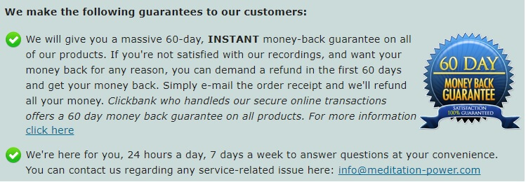 Money back guarantee claim on product