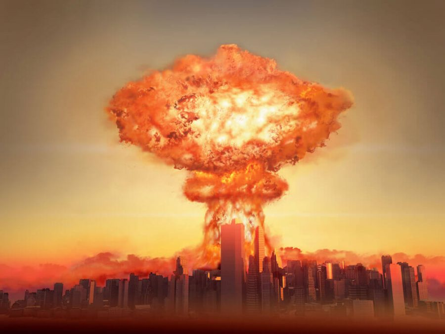 Nuclear bomb exploding in a city