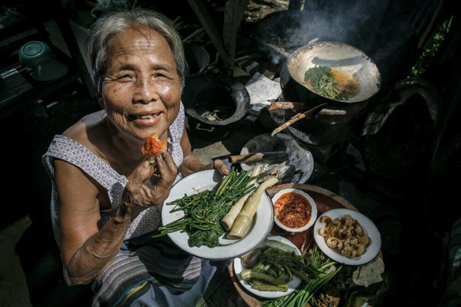 Senior women cooking