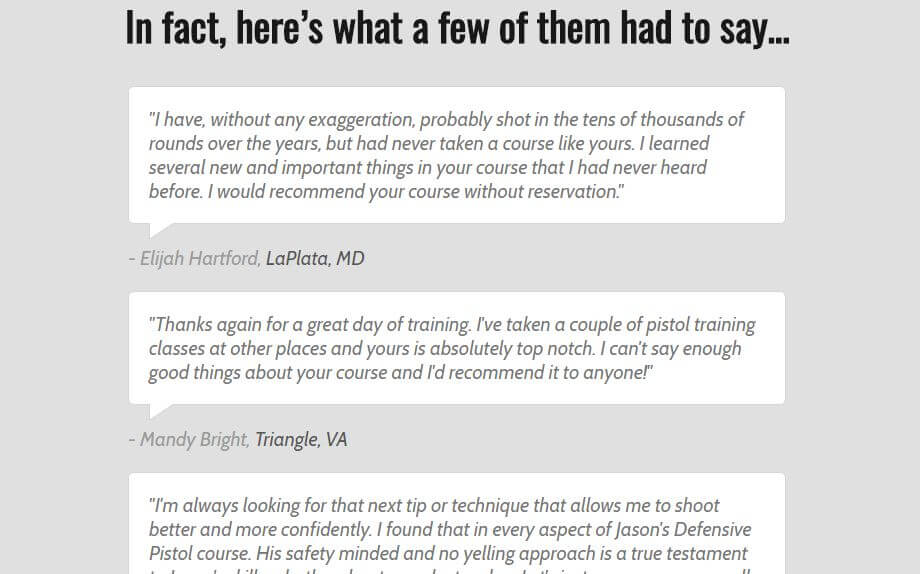 Some testimonies of people who used the guide.