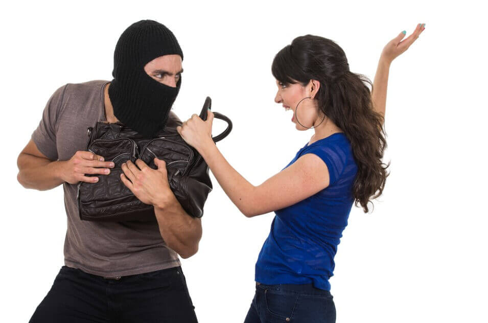 masked male thief fighting beautiful young girl
