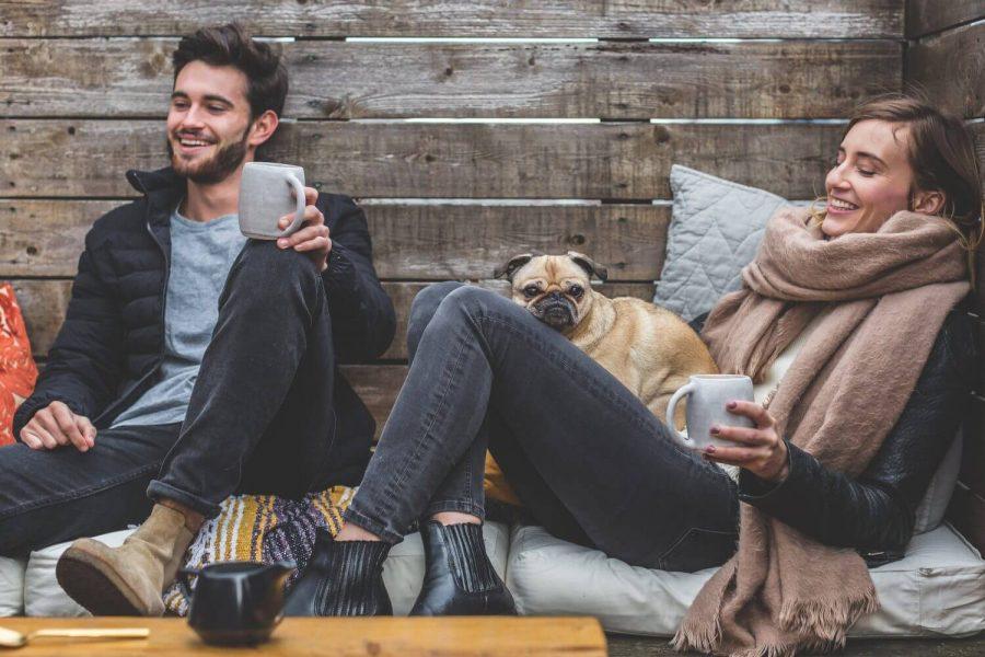 happy contented men