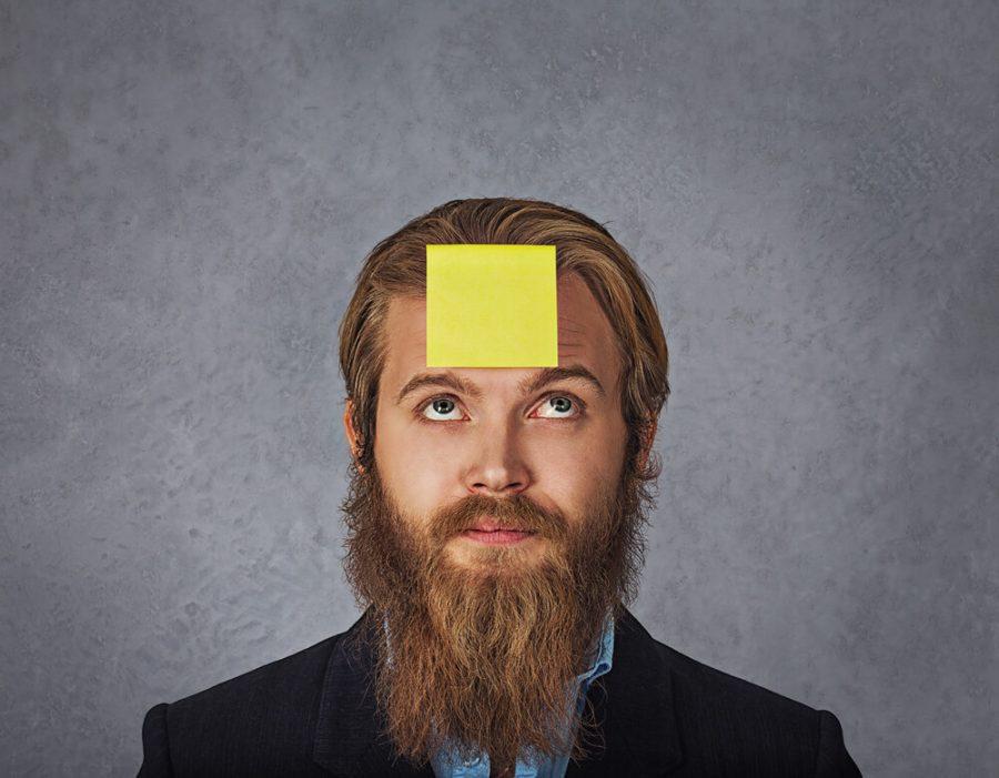 sticker stick on his head
