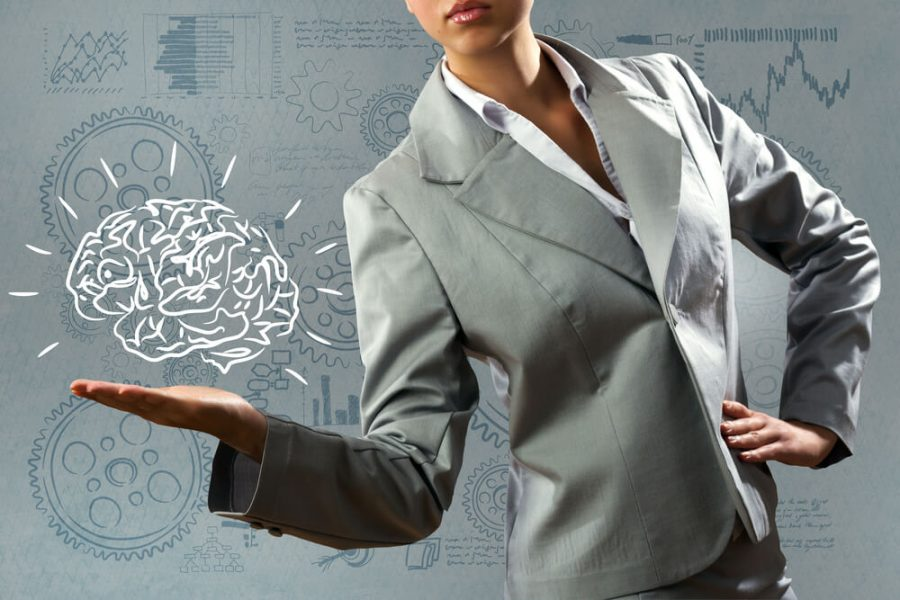 woman holding human brain